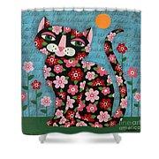 Flowered Calico Black Cat Shower Curtain