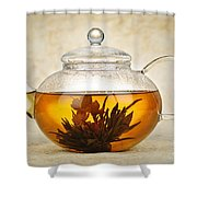 Flowering Blooming Tea Shower Curtain