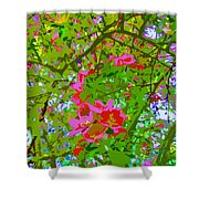 Flowering Blossoms Tree Paint Style Shower Curtain