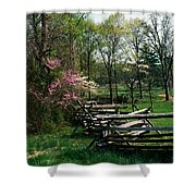 Flowering Trees In Bloom Along Fence Shower Curtain