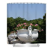 Flowerpots In A Row - Chateau Chenonceau Shower Curtain