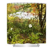 Flowers Along The River In Fall Shower Curtain