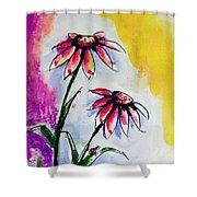 Flowers And Ladybug  Shower Curtain