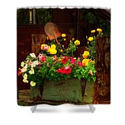 Flowers And Shovel On An Old Drill Truck Shower Curtain