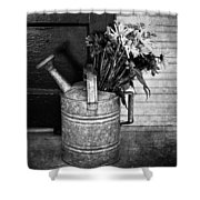Flowers At The Door  Shower Curtain by Empty Wall