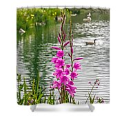 Flowers At The Lake Shower Curtain
