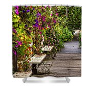 Flowers By A Bench  Shower Curtain