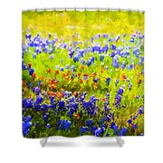 Flowers Field Background Shower Curtain