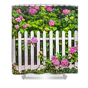 Flowers - Floral - White Picket Fence Shower Curtain