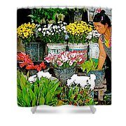 Flowers For Sale In Marketplace In Tachilek-burma Shower Curtain