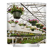 Flowers Growing In Foil Hothouse Of Garden Center Shower Curtain