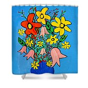 Flowers In A Blue Vase Shower Curtain