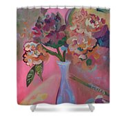 Flowers In A Lavender Vase Shower Curtain