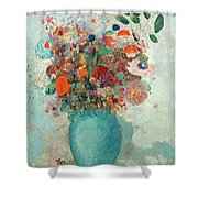 Flowers In A Turquoise Vase Shower Curtain