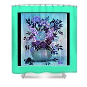 Flowers In A Vase With Blue Border Shower Curtain