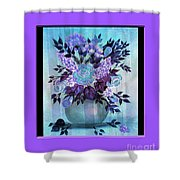 Flowers In A Vase With Lilac Border Shower Curtain