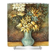 Flowers In Blue Vase - Still Life Oil Shower Curtain