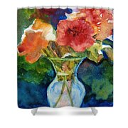 Flowers In Glass Vase Shower Curtain