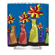 Flowers In Glass Vases Shower Curtain