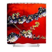 Flowers In Red Shower Curtain