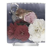 Flowers In Silver Shower Curtain