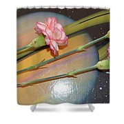 Flowers In Space Shower Curtain