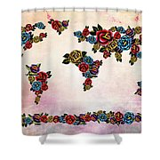 Flowers Map  Shower Curtain