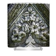 Flowers On A Grave Stone Shower Curtain