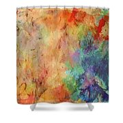 Flowers On Canvas Shower Curtain