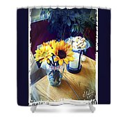 Flowers On Table Shower Curtain