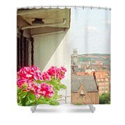 Flowers On The Balcony Shower Curtain