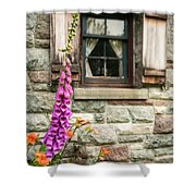 Flowers Stone And Old Country Window Shower Curtain