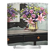 Flowers Table And Mirror In The Foyer Still Life Shower Curtain