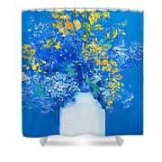 Flowers With Blue Background Shower Curtain