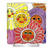 Flowers With Faces Shower Curtain
