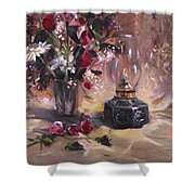 Flowers With Lantern Shower Curtain