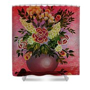 Flowers With Red Background Shower Curtain