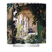 Flowery Majorquin  Patio In Valdemosa Shower Curtain