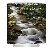 Flowing Creek With Scripture Shower Curtain