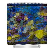 Flowing River Water And Rocks Colorful Abstract Painting Shower Curtain