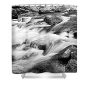 Flowing St Vrain Creek Black And White Shower Curtain