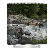 Flowing Stream With Waterfall In Vermont Shower Curtain