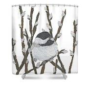 Chickadee Art Hand-torn Newspaper Collage Art By Keiko Suzuki Bless Hue Shower Curtain