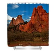 Fluffy Clouds Over Jagged Peaks Shower Curtain