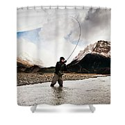 Fly Fishing At The Base Of Fitz Roy Shower Curtain
