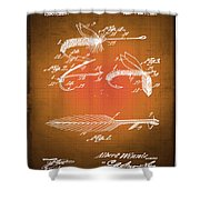 Fly Fishing Bait Patent Blueprint Drawing Sepia Shower Curtain