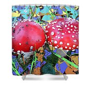 Fly-fungus With Blue Leaves By M.l.d.moerings 2009 Shower Curtain