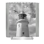 Fly Past - Seagulls Round Southwold Lighthouse In Black And White Shower Curtain