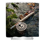Fly Rod And Reel Detail On Mossy Wet Shower Curtain