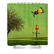 Flying A Balloon In A Parallel Universe Shower Curtain